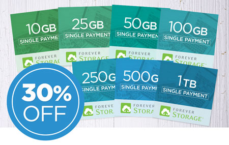Save 30% on ALL FOREVER Storage single payments!