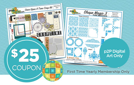 Join pixels2Pages™ with a First Time Yearly Membership and get a coupon for $25 worth of p2P-Branded digital art!