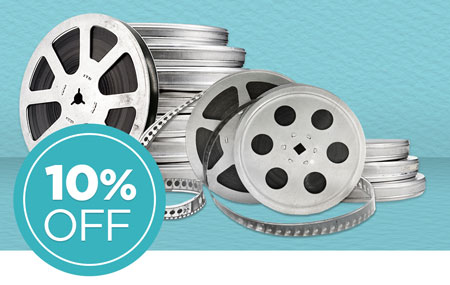 Return your media conversion box to save 10% on all film reels, 8mm, Super8, and 16mm conversion!