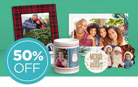 Save 50% on all cards and photo gifts, including NEW ornaments in Design & Print!