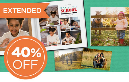 Save 40% on all printed products, including photo prints!