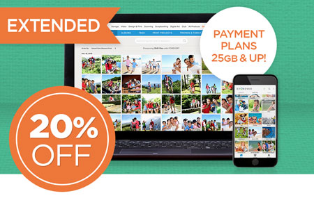 Save 20% on FOREVER Storage® payment plans 25GB and up!