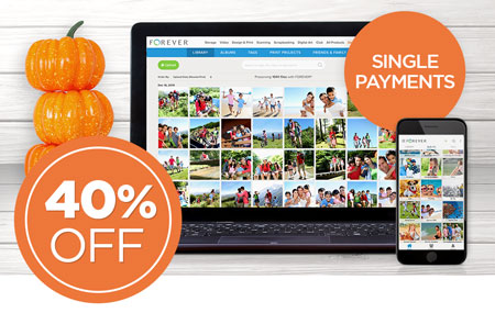 Save 40% on any size FOREVER Storage® single payments!
