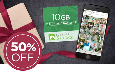 Save 50% on 10GB FOREVER Storage® payment plans!