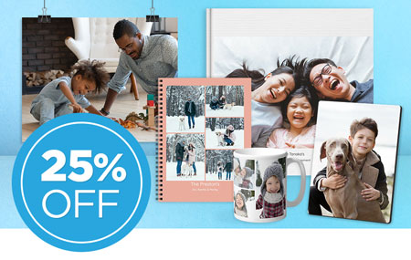 Save 25% on all printed products, INCLUDING photo prints!
