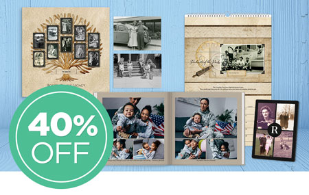 Save 40% on printed products and 30% on photo prints!