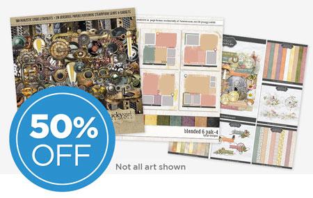 Save 50% on our April Scrap Café Digital Art Collaboration!