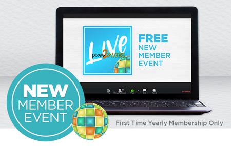 Join pixels2Pages™ with a First Time Yearly Membership and get access to a one-day p2P LIVE Event in August!