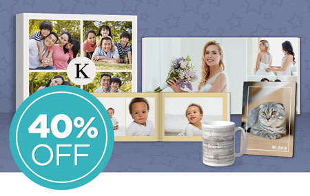 Save 40% on photo books, wall décor, and photo gifts!