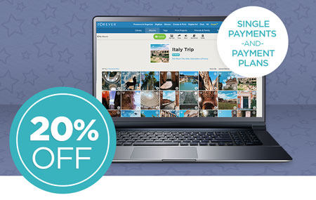 Save 20% on any size FOREVER® permanent cloud storage single payments AND payment plans!