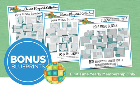 Join pixels2Pages™ with a First Time Yearly Membership and get your choice of a Classic Blueprint Mega Bundle ($70 value)!