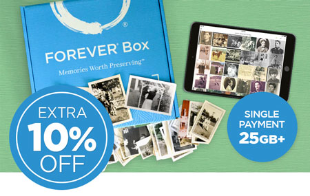 Save an EXTRA 10% on a 25GB+ FOREVER permanent cloud storage single payment with your purchase of a FOREVER Box!