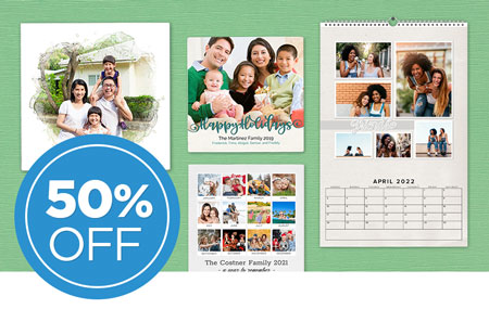 Save 50% on printed wall décor and calendars!
